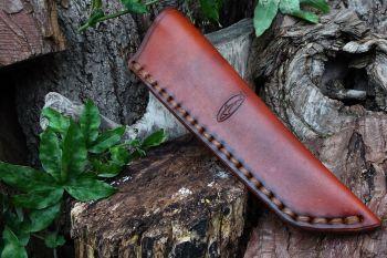 leather large saddle stitch hand dyed mora sheath by beaver bushcraft