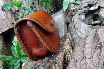 leather large sized saddle stitch side veiw of pouch for beaver bushcraft
