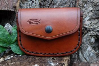 leather hand stitched large saddle stitch gusseted pouch made by beaver bus