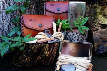 leather and fire beaver bushcraft Flanders tinderbox