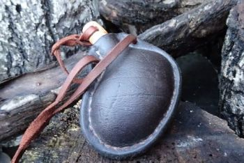 leather wonky mini bladder style handmade leather bottle by beaver bushcraf