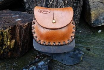 leather and fire hand stitched fire steel pouch distressed tan