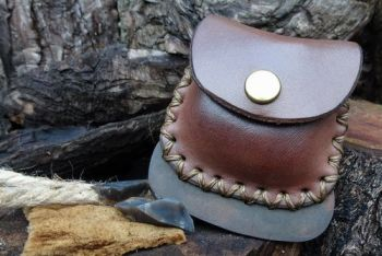 fire and leather brown fire steel pouch for beaver bushcraft