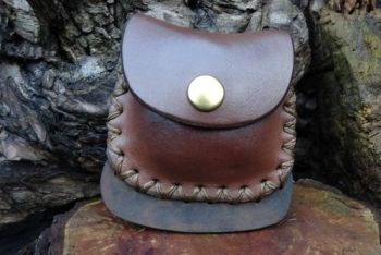 fire and leather fire steel pouch hand dyed in brown with striker by beaver