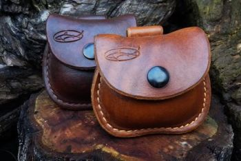 leather mini pouches hand dyed with belt loops made for beaver bushcraft