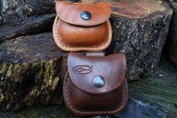 leather mini possisbles pouches with belt loops made by beaver bushcraft
