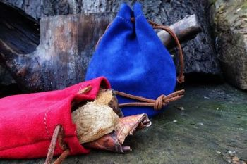 leather round tinder pouches in red and blue suede by beaver bushcraft