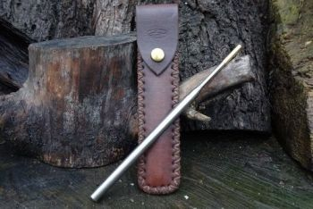 fire and leather hand cross stitched sheath with fire storm by beaver bushc