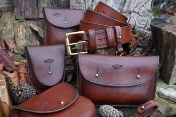 leather-wilderness pouch with accessories all hand stitched in hazel brown