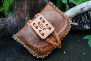 Leather and fire limited edition pioneering pouch shrunk for beaver bushcra