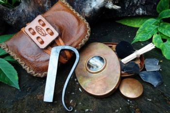 Fire and leather limied edition hudson bay tinder pouch with patina copper