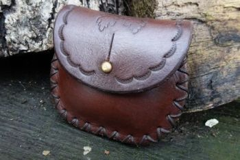 Leather mini poch with acorn detail by beaver bushcraft in chestnut brown