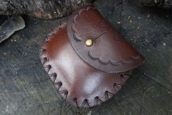 mini tinder pouch with acorn tooled made by beaver bushcraft in chestnut br
