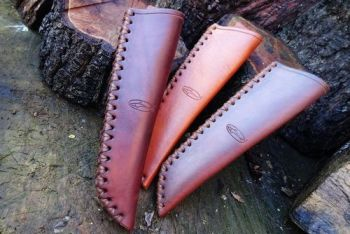 Leather hand stitched Mora Sheaths natural hand dyed by beaver bushcraft 1