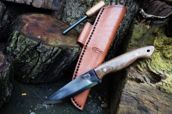 Cutting shark blade with hand stitched hand dyed sheath in saddle tan made
