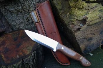 Cutting shark knife with natural dark russet hand stitched sheath for beave