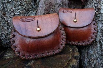 Leather aged patina tinder purse hand stitched by beaver bushcraft