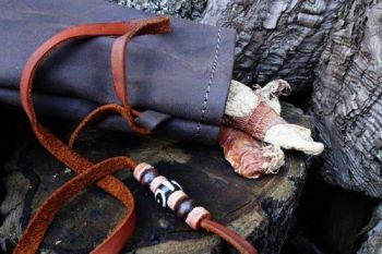 leather vintage leather medicine pouch by beaver bushcraft with batik beads