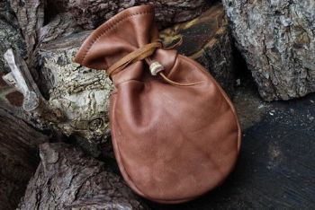 leather vintage leather sami pouch with bead thong by beaver bushcraft