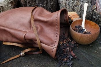 leather vintage leather sami pouch open with kuska cup by beaver bushcraft