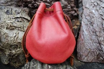 Leather hand dyed mini possibles pouch in blush made by beaver bushcraft