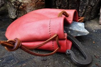 Leather mini tinder pouch hand dyed by beaver bushcraft in blush