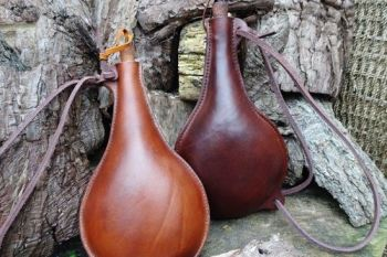 leather handmade bottle spanish style drinking jugs made by beaver bushcraf