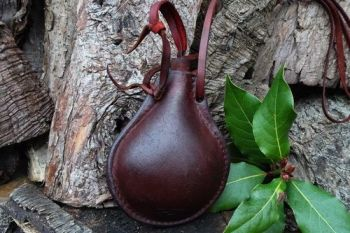 leather hand crafted mini leather rustic bottle drinking flask made by beav