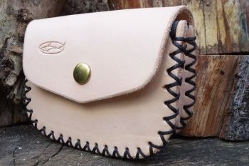 Leather. Hand crossed stitched gussted possibles pouch in russett leather m