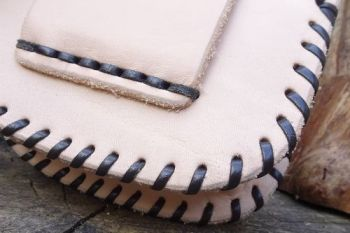 Leather. hand laced leather poosibles pouch in natural blonde leather made