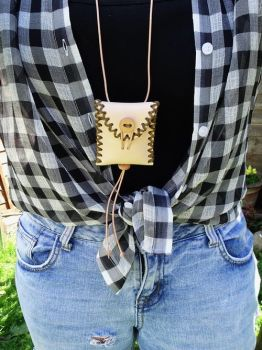 leather. Hand stitched mini neck medicine style neck pouch worn by beaver b