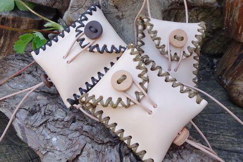 Soft Leather Hand Crossed Stitched 'Medicine' Style Mini Neck Pouch -  Natu