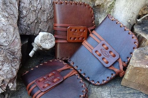 Hand Cross Stitched Leather 'Pioneering' Style Tinderbox Pouch - Ready-2-Go
