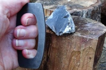 Fire. A traditional 2nd C fire steel striker made by beaver bushcraft