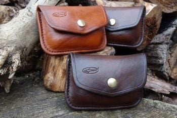 leather. Ready made 1oz possisbles belt pouches made by beaver bushcraft