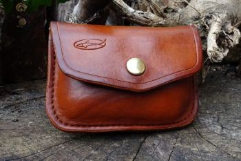 leather. Ready made 1oz possisbles belt pouches hand dyed in hazel brown by