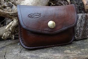 Leather. Ready made 1oz possibles tabacco tin belt pouch hand dyed in chest