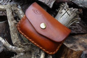 leather. hand dyed ready made 1oz belt pouch in hazel brown by beaver bushc