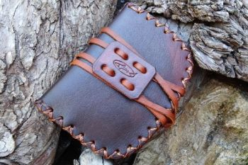 Leather. Hand Stitched tinder pouch, pioneering stle for the hudson bay Tin