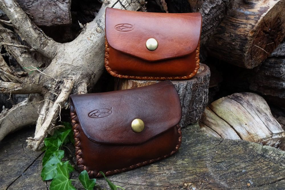 1oz Tin 'Possibles' Leather Belt Pouch - Hand Cross Stitched - Ready Made