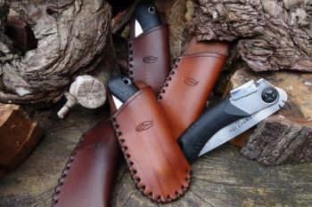 Bespoke Hand CROSS Stitched Leather Sheath with Mini Japanese Pocket Folding Saw - (45-4510) - Made to Order
