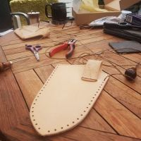Ellis with his beaver bushcraft make your own leather sheath kit