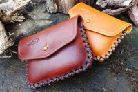 Hand Cross Stitched 1oz Tin 'Possibles' Leather Belt Pouch - Ready Made - Sam Browne Stud