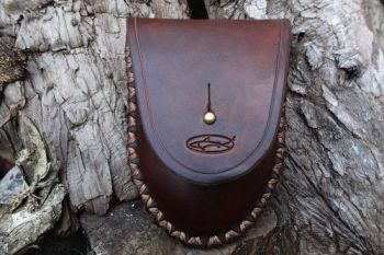 Leather hudson bay tinder belt pouch made by beaver bushcraft