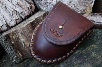 Leather hand dyed hudson bat tinderbox belt pouch made by beaver bushcraft
