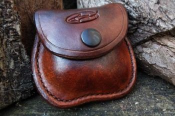 Leather coin pocket vintage patina by beaver bushcraft
