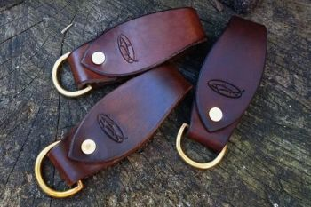 leather hand dyed ready made belt loop key rings made by beaver bushcraft