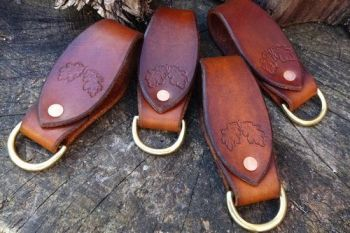 leather hand tooled acorn belt loop key rings by beaver bushcraft
