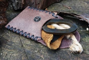 Mini Leather Tinder Pouch with Flint & Steel Fire Lighting Kit - Hand Crossed Stitched