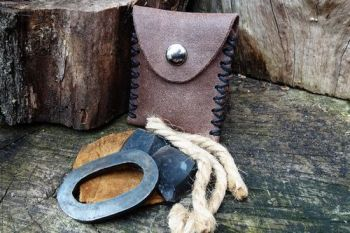 Fire & Leather. Mini tinder pouch with oval fire steel by beaver bushcraft